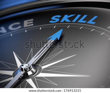 Needle of a compass pointing the word skill, 3D render, concept image for training or proficiency. - stock photo