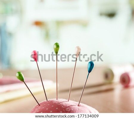 Needle pillow with pins - stock photo
