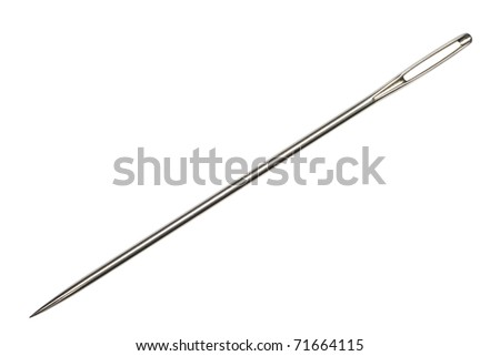 Needle (the tool for sewing) on an isolated white background. - stock photo