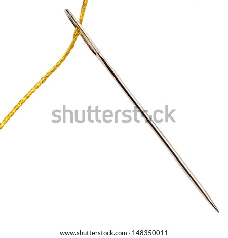 Needle with gold thread isolated on white background  - stock photo