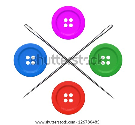 Needles and Buttons Set on a white background
