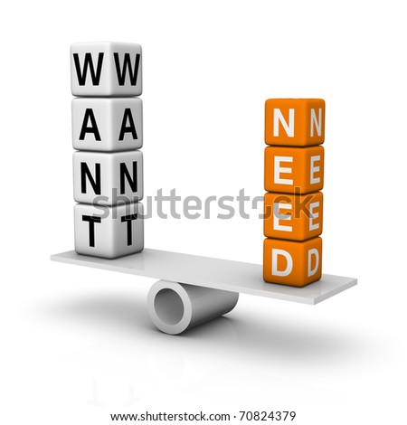 needs and wants balance (3D crossword orange series) - stock photo