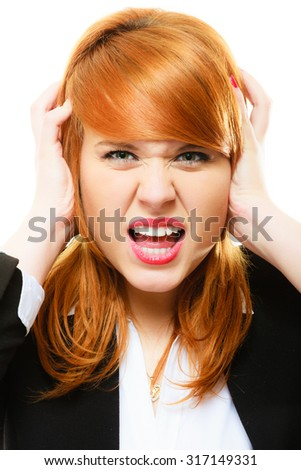 Negative emotions. Angry mad businesswoman crazy redhair boss furious woman screaming isolated on white. Stress in business work. - stock photo