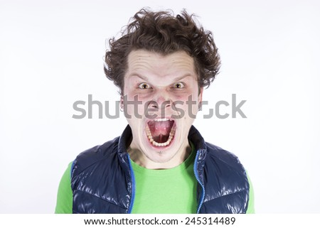 Negative funny angry man - stock photo