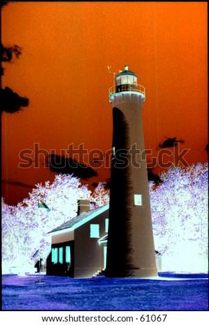 Negative image of Lighthouse - stock photo