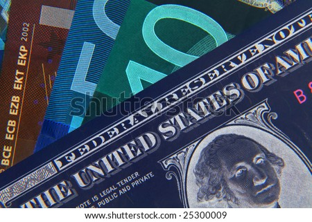 Negative image of US Dollar and European Euro notes