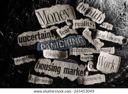 Negative newspaper headlines on dark textured background                                - stock photo