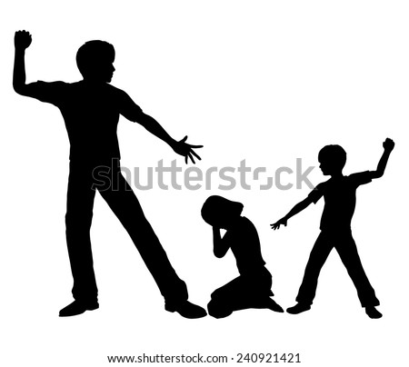 Negative Role Model. Concept sign of an adult person with negative influence on a boy by beating up small girl - stock photo