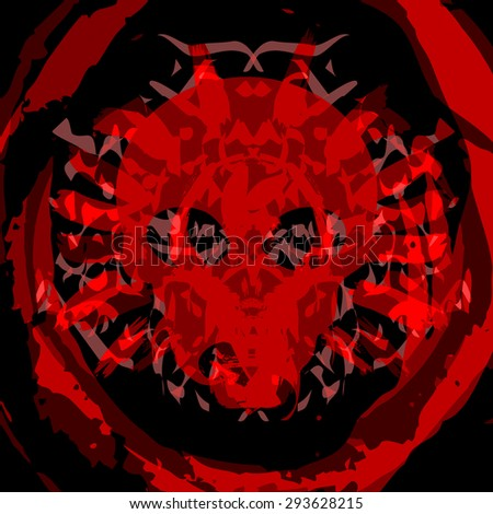 Negative thoughts, evil skull in blood splatter on black background - stock photo