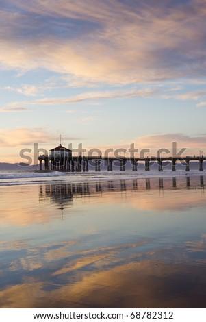 Negative Tide at the Manhattan Beach Pier - stock photo