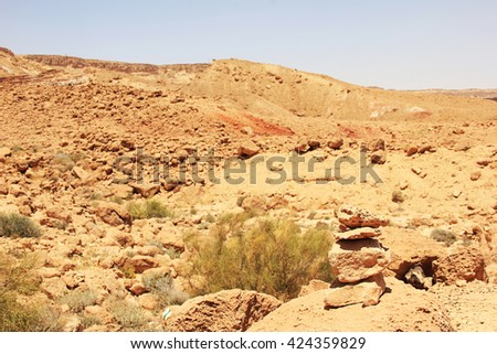 Negev desert and Ramon crater.