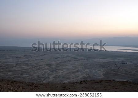 Negev desert - Dead sea View from Masada Israel - stock photo