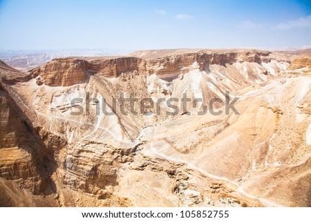 Negev desert view from Masada. Barren and rocky. Israel - stock photo