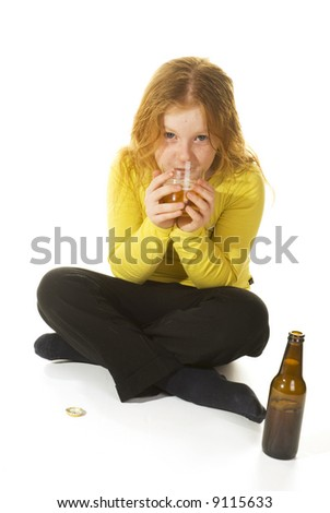 Neglected girl is drinking alcohol - stock photo
