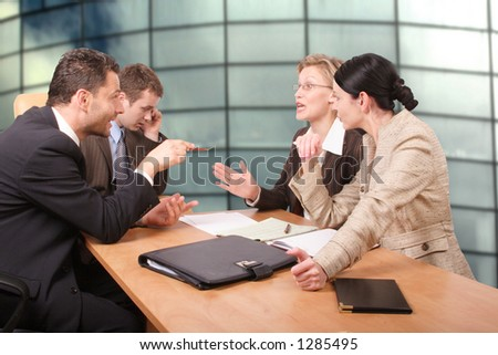 negotiation, business meeting of four persons