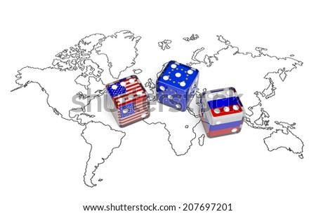 Negotiation concept: dices with flags of USA, Russia and European Union on the world map symbolize foreign affairs, summit of countries, state interests, discussion on global issues - stock photo