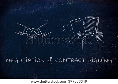 negotiation & contract signing: handshake and hands holding signed documents - stock photo