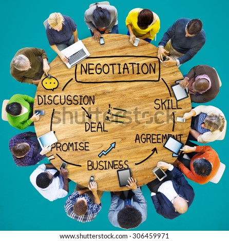 Negotiation Cooperation Discussion Collaboration Contract Concept - stock photo