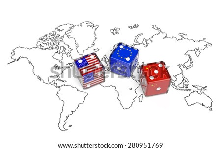 Negotiation political concept: dices with flags of USA, China and European Union on the world map symbolize foreign affairs, summit of countries, state interests, discussion on global issues - stock photo
