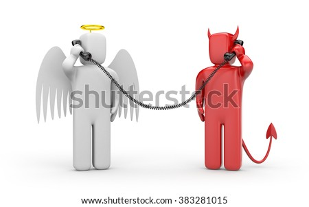 Negotiations between good and evil - stock photo