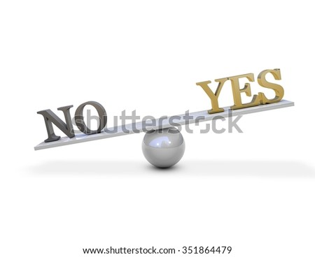 Negotiations concept illustration with yes and no on scales. - stock photo
