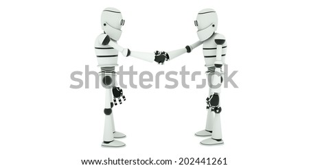 Negotiations robots ended with agreement on cooperation, side view, 3d render - stock photo