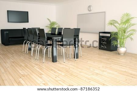 negotiations room interior 3d render - stock photo