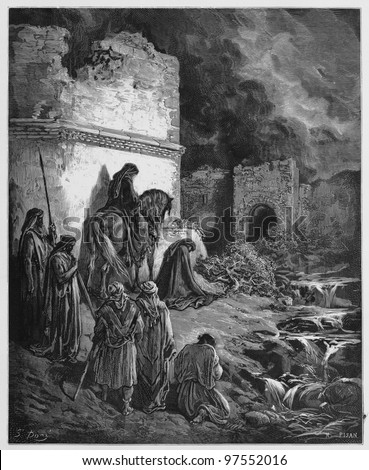 Nehemiah views the ruins of Jerusalem's walls - Picture from The Holy Scriptures, Old and New Testaments books collection published in 1885, Stuttgart-Germany. Drawings by Gustave Dore. - stock photo
