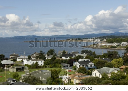 neighborhood and park by the ocean - stock photo
