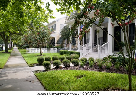 neighborhood in a quaint small American town - stock photo
