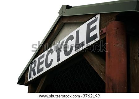 Neighborhood recycling center, isolated on white background. - stock photo