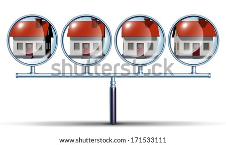 Neighborhood watch home search finding  houses for sale or real estate in residential neighborhoods as a concept with a magnifying glass that has multiple views as a comprehensive searching icon. - stock photo
