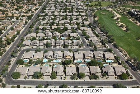 Neighborhood with Swimming Pools from above - stock photo