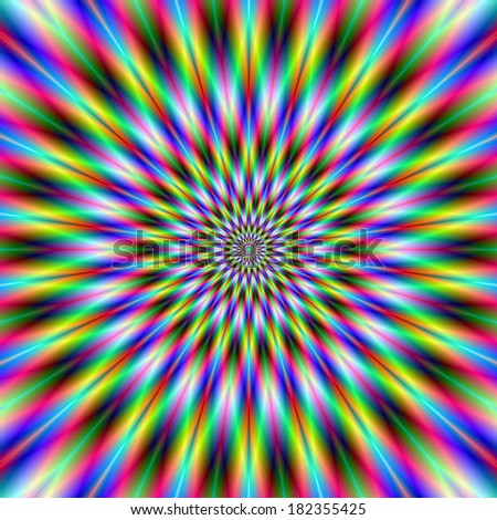 Neither Star nor Flower / Digital abstract fractal image with a circular staggered design in green, blue, yellow, pink and red and may produce and optical illusion of movement. - stock photo