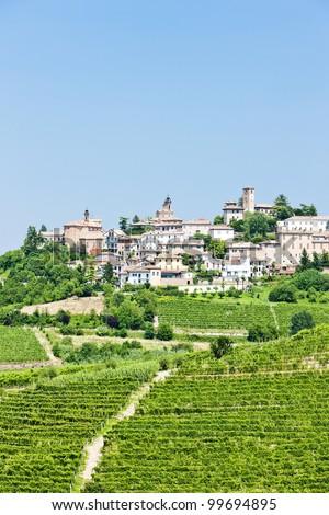 Neive wth vineyards, Piedmont, Italy - stock photo