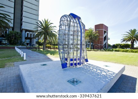 Nelson Mandela Bay University Port Elizabeth South Africa 4 November 2015- A piece of artwork made in the form of a shirt that Madiba worn during his life   - stock photo