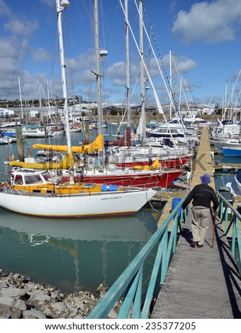 Nelson, New Zealand - November 28, 2014: Nelson Marina with Yachts and Motor Boats on a Summer Day.   - stock photo