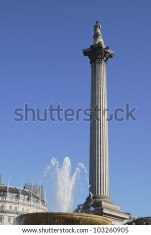 Nelson's Column and fountain in Trafalgar Square. Westminster. London. England - stock photo