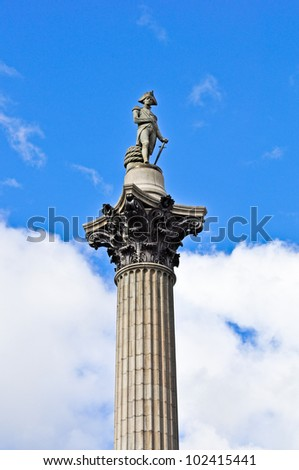 Nelson's Column in Trafalgar Square, London, England - stock photo