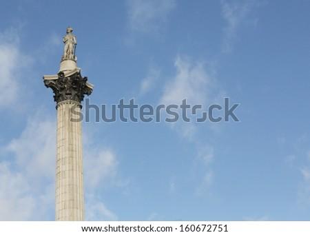 Nelson's Column in Trafalgar Square, London England. - stock photo