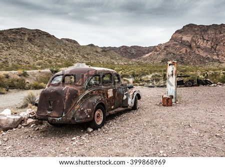 NELSON , USA - JUNE 10 : Old vintage gas station house and rusty old car in Nelson Nevada ghost town on June 10 ,2015 - stock photo
