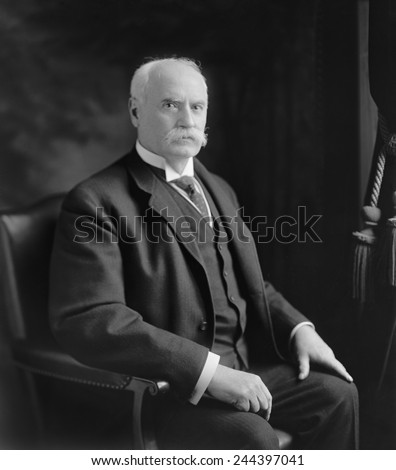 Nelson W. Aldrich 1841-1915 Republican Senator from Rhode island from 1881-1911 supported business interests and protective tariffs. Daughter married John D. Rockefeller Jr. Ca. 1900. - stock photo