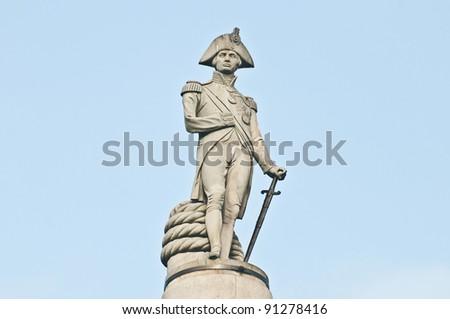 Nelsons Column on Trafalgar Square at London, England - stock photo
