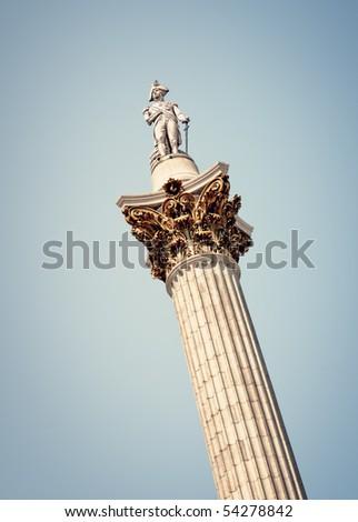 Nelsons Column, Trafalgar Square, London. - stock photo