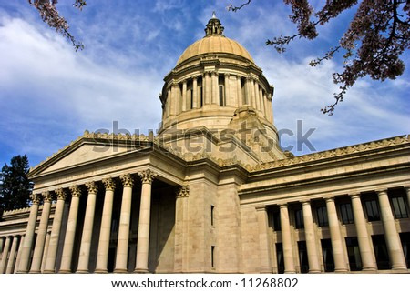 Neo classical style  Legislative Building on a late afternoon in early spring