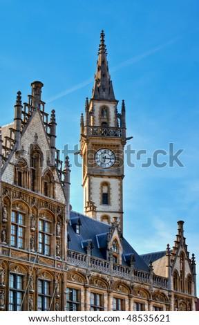 Neo-Gothic Architecture - Post Plaza, Ghent (Gent), Belgium - stock photo