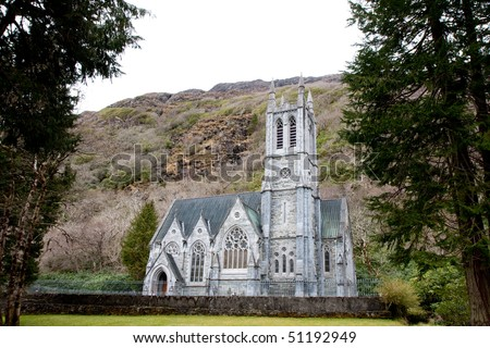 neo-gothic church miniature replica of Norwich Cathedral in Kylemore Abbey, county galway, ireland, ie - stock photo