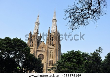 Neo-gothic Roman Catholic Cathedral, seat of the Roman Catholic Archbishop of Jakarta - stock photo