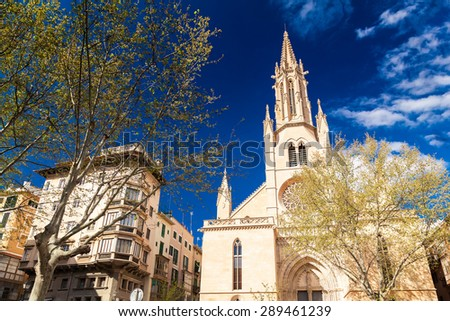 Neo-Gothic styled Santa Eulalia church in Palma de Mallorca, Spain - stock photo