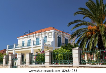 Neoclassic house from Lixouri city at Kefalonia island in Greece - stock photo